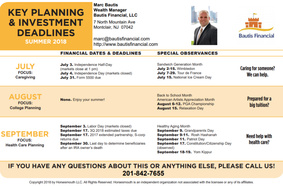 Summer Key Planning & Investment Deadlines