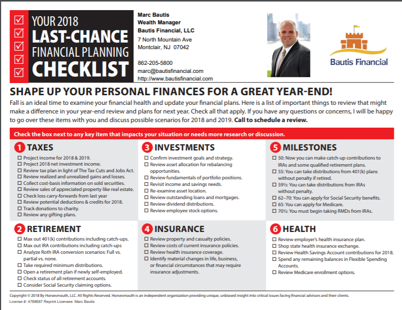 2018 year end financial planning checklist bautis financial