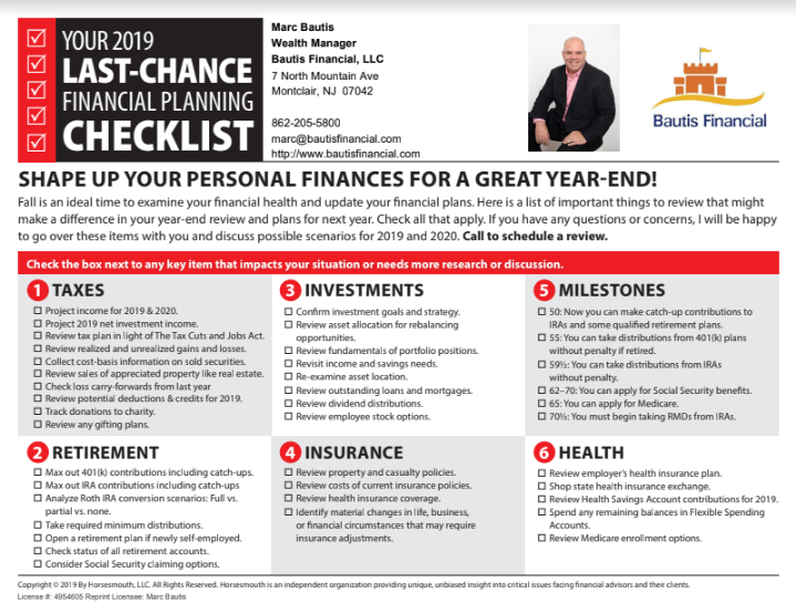 2019 Year End Financial Planning Checklist