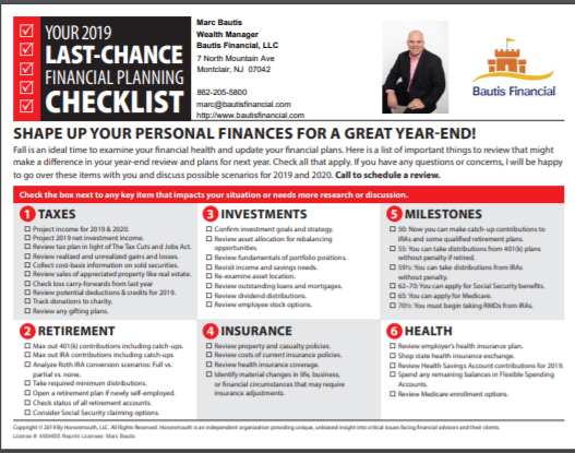 2019 Year End Planning Checklist
