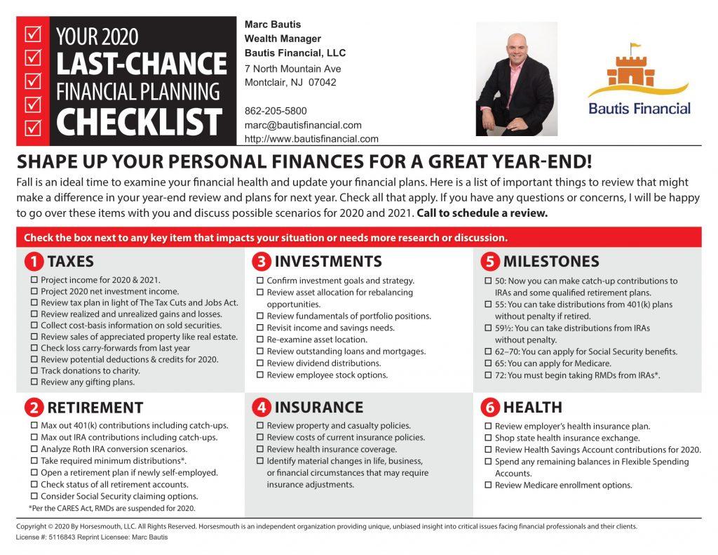 2020 Year End Financial Planning Checklist